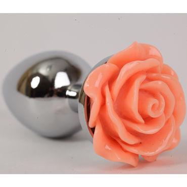 Luxurious Tail Анальная пробка, серебристая Малая, с оранжевой розой luxurious tail анальная пробка серебристая средняя с розовой розой