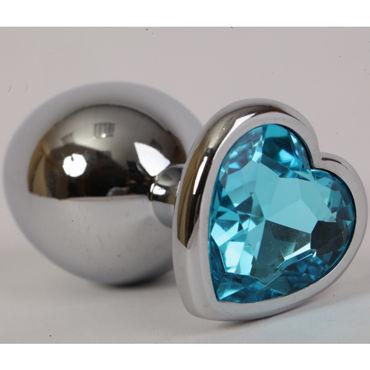 Luxurious Tail Анальная пробка, серебристая Средняя, с голубым сердечком плеть