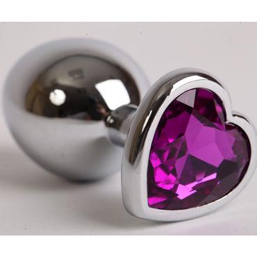 Luxurious Tail Анальная пробка, серебристая Средняя, с фиолетовым сердечком интимные товары couples source o 5689