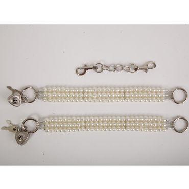 White Label Наножники, белые Жемчужные из трех нитей white label наручники красные жемчужные из трех нитей