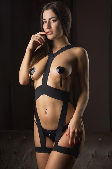 Mens dreams Эротический костюм, черный Комбинезон из эластичных лент ouch leather cross tipped crop фиолетовый