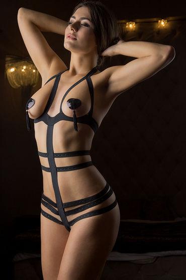 Mens dreams Эротический костюм, черный Боди из эластичных лент lolitta luxury bra черный бюстгальтер с кисточками