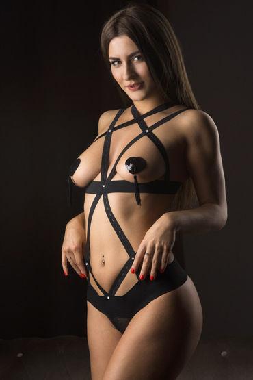Mens dreams Эротический костюм, черный Боди из перекрещивающихся лент mens dreams эротический комплект контактная юбка и лиф