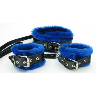 BDSM Арсенал Ошейник и наручники с синим мехом Лаковая кожа ивыь арсенал плеть с синим мехом ф