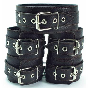 BDSM Арсенал Комплект фиксаторов с мягкой подкладкой, коричневый Ошейник, наручники и наножники