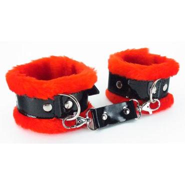 BDSM Арсенал Наручники с красным мехом Лаковая кожа металлические наручники с мехом uni