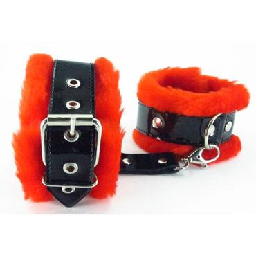 BDSM Арсенал Наножники с красным мехом Лаковая кожа bijoux indiscrets plaisir nacr белые наручники из небольших жемчужин