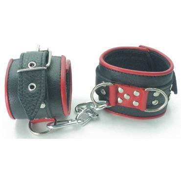 BDSM Арсенал Наручники широкие, черно-красные С карабинами bdsm арсенал страпон на бедро