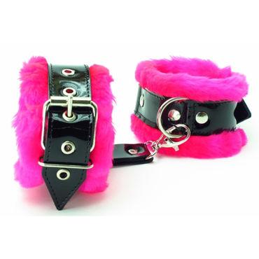 BDSM Арсенал Наножники с розовым мехом Лаковая кожа пульсаторы baile indu