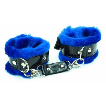 BDSM Арсенал Наручники с синим мехом Лаковая кожа bdsm арсенал наручники и наножники с синим мехом лаковая кожа