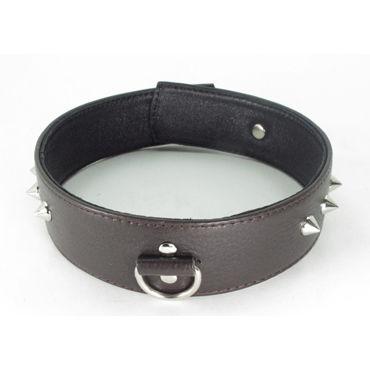 BDSM Арсенал Ошейник с шипами, коричневый С кольцом bdsm арсенал ошейник с мягкой подкладкой бежево черный с контрастной строчкой