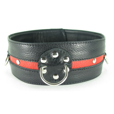 BDSM Арсенал Ошейник, черно-красный С кольцами 6 beastly маска черно красная