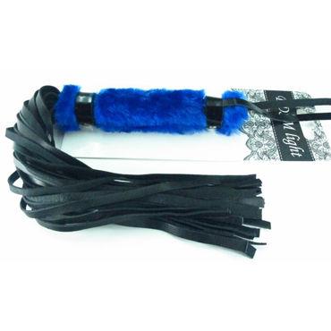 BDSM Арсенал Плеть с синим мехом Многохвостая bdsm арсенал профессиональный стек черный с теснённой ручкой