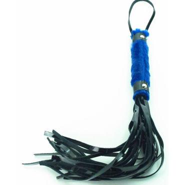 BDSM Арсенал Лаковая плеть с синим мехом Многохвостая пэстис obsessive gretia os