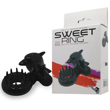 Baile Sweet Ring С Дельфином, черное Эрекционное кольцо, стимуляция клитора pink lipstick боди черное