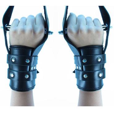 BDSM Арсенал Наручники для подвешивания, черные Со штырями внутри эротическая пижама 9195