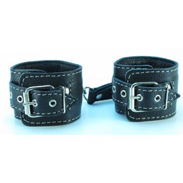 BDSM Арсенал Оковы с контрастной строчкой, черные С заклепками bioclon насадка для пояса harness телесная с коннектором в блистере