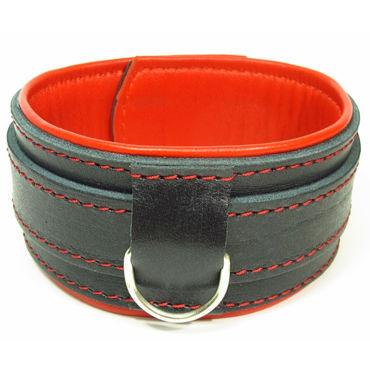 BDSM Арсенал Ошейник с контрастной подкладкой, черно-красный На застежке а прочие аксессуары цвет красный