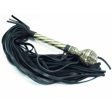 BDSM Арсенал Плеть-скипетр, черная Многохвостая, с кованой рукояткой черное боди adara l xl