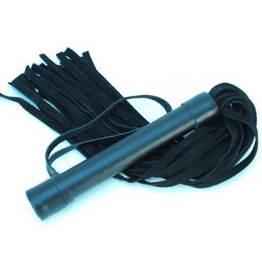 BDSM Арсенал Плеть из замши, черная Многохвостая, с жесткой рукояткой pipedream deluxe cat o nine многохвостая плеть