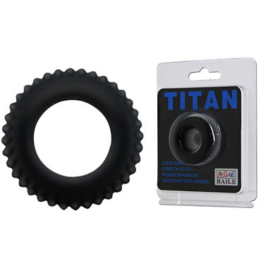 Baile Titan, черное Рельефное эрекционное кольцо baile titan cock ring черное эрекционное кольцо в виде автомобильной шины