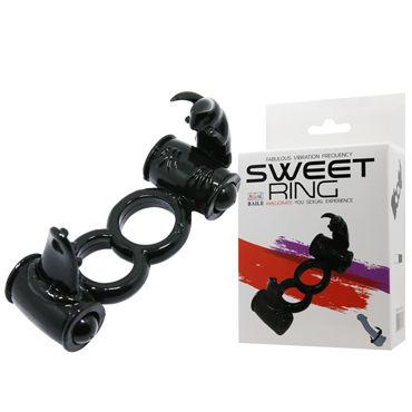 Baile Sweet Ring Двойное, черное Эрекционное кольцо, стимуляция клитора pink lipstick боди черное