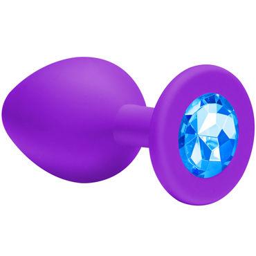 Lola Toys Emotions Cutie Small, фиолетовая Анальная пробка с голубым кристаллом lola toys diamond sparkle large серебристая анальная пробка с желтым кристаллом