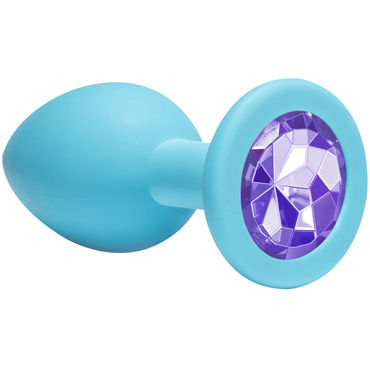 Lola Toys Emotions Cutie Medium, голубая Анальная пробка с пурпурным кристаллом lola toys emotions cutie medium фиолетовая анальная пробка с голубым кристаллом