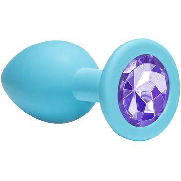 Lola Toys Emotions Cutie Medium, голубая Анальная пробка с пурпурным кристаллом lola toys diamond sparkle small серебристая анальная пробка с розовым кристаллом