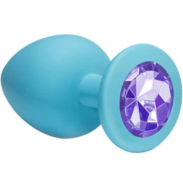 Lola Toys Emotions Cutie Large, голубая Анальная пробка с пурпурным кристаллом lola toys bent anal plug синяя анальная пробка