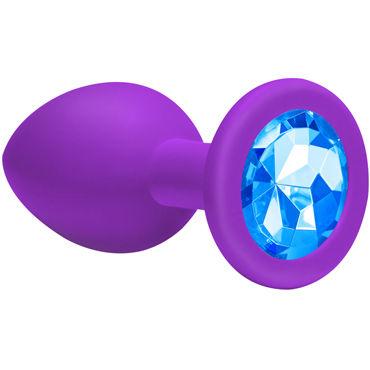Lola Toys Emotions Cutie Large, фиолетовая Анальная пробка с голубым кристаллом lola toys diamond sparkle small серебристая анальная пробка с розовым кристаллом