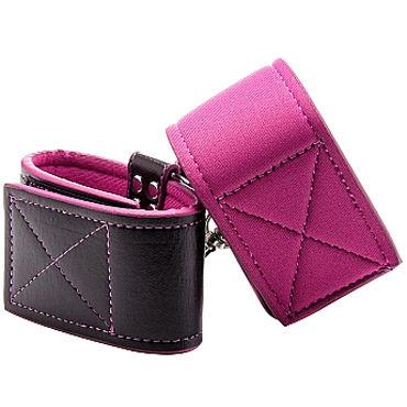 Ouch! Reversible Wrist Cuffs, черно-розовые Наручники на липучках комплект velma l xl