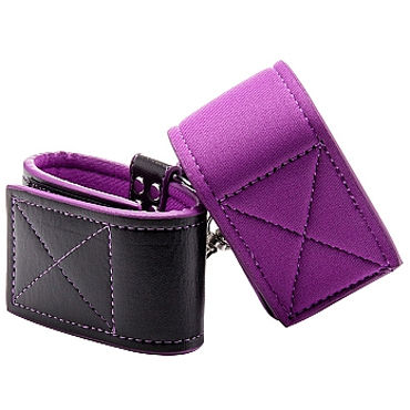 Ouch! Reversible Wrist Cuffs, черно-фиолетовые Наручники на липучках виброкольцо vibro ring black