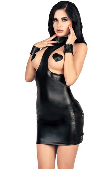 Mens dreams Платье с открытой грудью, черное Из экокожи презерватив luxe maxima желтый дьявол 1