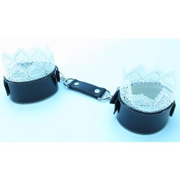 БДСМ лайт Изысканные наручники, черно-белые С кружевной окантовкой mister b lube extreme 250 мл пролонгирующая смазка на водной основе