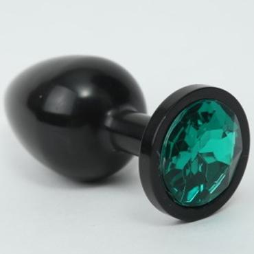 4sexdream Анальная пробка средняя, черная С зеленым стразом obsessive spicy set кружевной комплект черный трусики манжеты и повязка на глаза