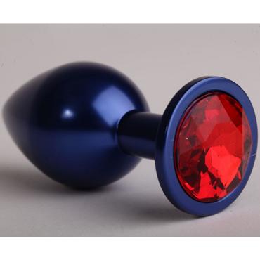 4sexdream Анальная пробка малая, синяя С красным стразом toyfa metal малая анальная пробка серебристая тяжелая с кристаллом цвета рубин