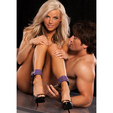 X-Play Love Chain Ankle Cuffs, фиолетовые Кожаные поножи x play red passion