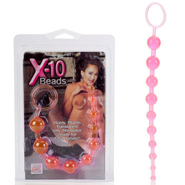 California Exotic X-10 Beads, розовая Гибкая анальная цепочка california exotic novelties sweetheart vibe loving touch