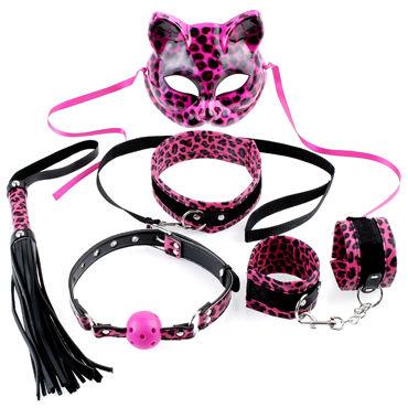 Pipedream Fetish Fantasy Kinky Kitty Kit Набор для бондажа леопардовой расцветки, с маской кошечки