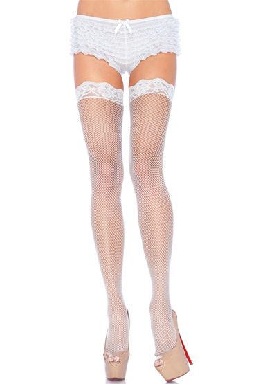 Leg Avenue чулки, белые С тонкими ажурными резинками leg avenue мини платье с ажурными вставками