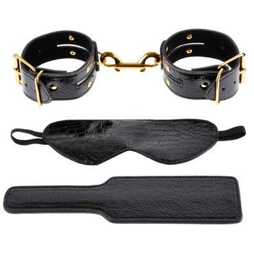 Pipedream Gold Fantasy Bondage Kit Дизайнерская маска, пэддл и наручники набор вибромассажер наручники наножники маска