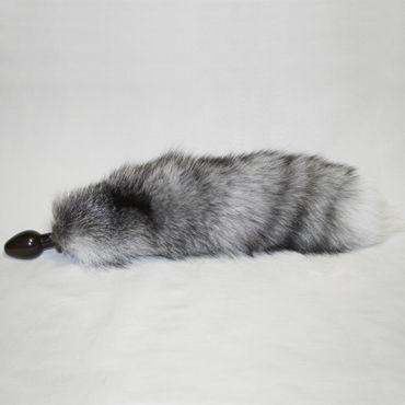 Wild Lust анальная пробка, 32 мм Черная, с серым лисьим хвостом wild lust анальная пробка 4см оранжево черный с заячьим хвостом