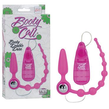 California Exotic Booty Double Dare, розовый Анальная пробка-цепочка с вибрацией obsessive bra
