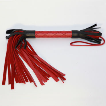 BDSM Арсенал плетка, черно-красная С декоративной строчкой плетка из натуральной кожи