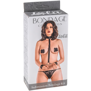 Lola Toys Submission Bondage Kit One Size, черный Ошейник с наручниками стандартного размера podium цепи с карабинами 25 см с соединительным кольцом