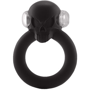 Shots S-Line Shadow Skull Cockring, черное Виброкольцо украшенное черепом shots toys sono chain cockring 4 черное эрекционное кольцо