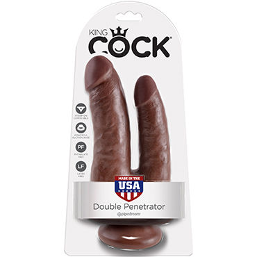 Pipedream King Cock Double Penetrator, коричневый