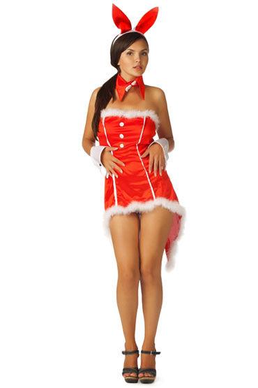 Le Frivole Пушистый зайка, красный Платье, ушки, воротник и манжеты mingliu презерватив 60 шт секс игрушки для взрослых