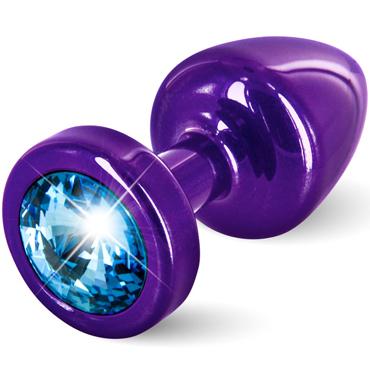 Diogol Anni, фиолетовая Втулка с голубым кристаллом Swarovski diogol anni clover t1 розовая анальная пробка с кристаллом swarovski в форме клевера